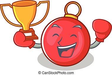 boxe, gagnant, caractère, noël boule, dessin animé