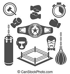 boxe, icônes, vecteur