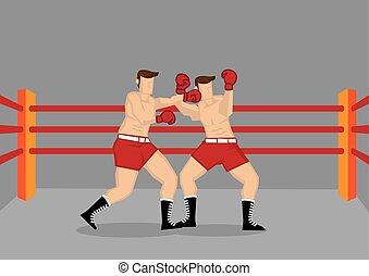 boxe, illustration, vecteur, boxeurs, frapper, anneau