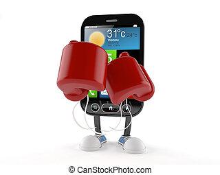 boxe, intelligent, téléphone, caractère, gant