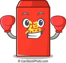 boxe, isolé, enveloppe, dessin animé, rouges