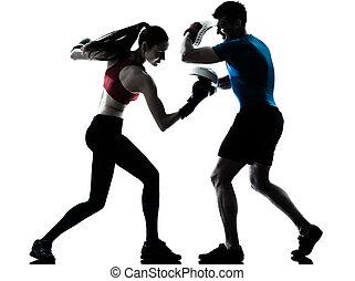 boxe, kobieta, wykonując, autobus, człowiek