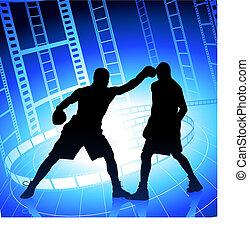 boxe, ligado, película, strip/reel, fundo