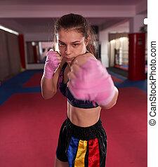 boxe ombre, kickboxer, girl