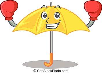 boxe, parapluie, isolé, jaune, mascotte