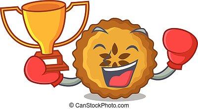 boxe, pomme, gagnant, tarte, isolé, mascotte