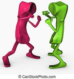 boxe, pose, caractère, isolé, concurrence, téléphone, concept, rivalité, télécommunications, 3d