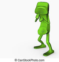 boxe, pose, caractère, isolé, concurrence, téléphone, concept, télécommunications, 3d