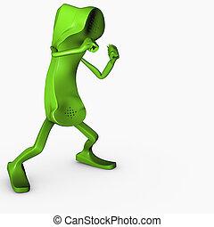 boxe, pose, personagem, isolado, competição, telefone, ataque, conceito, telecomunicações, 3d