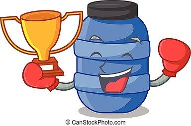 boxe, récipient, fish, gagnant, plastique, baril, dessin animé