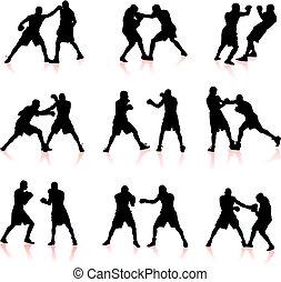 boxe, silueta, cobrança, fundo
