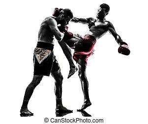 boxe, silueta, homens, exercitar, dois, tailandês