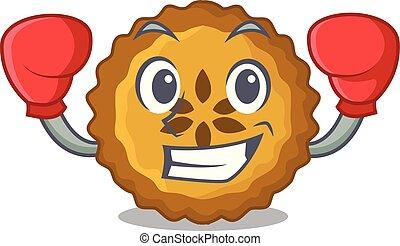 boxe, tarte aux pommes, pain, sur, dessin animé, plaque