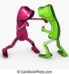 boxe, telco, pose, caractère, isolé, concurrence, téléphone, attaque, concept, aggresion, 3d