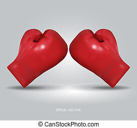 boxe, /, vecteur, gants, illustration, rouges