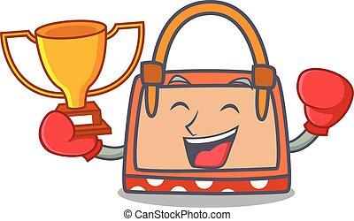 boxe, vencedor, saco mão, mascote, caricatura