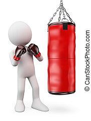boxeador, bolsa, 3d, golpear, blanco, perforación, personas.