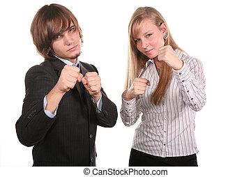 boxeador, pareja joven
