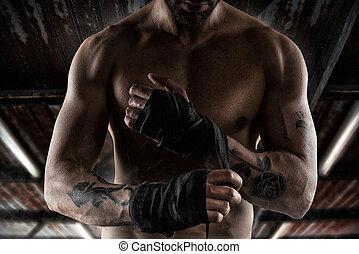 boxeador, pone, el, cintas, a, el suyo, manos