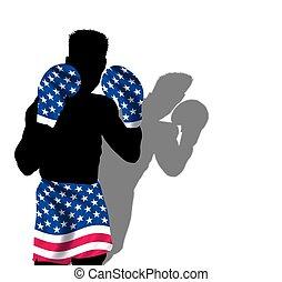 boxeador, rayas, estrellas, y