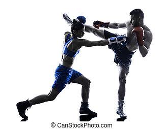 boxeador, silueta, boxeo, aislado, hombre, kickboxing, mujer