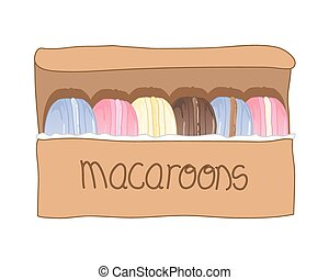 a vector illustration in eps 10 format of a row of colorful macaroon treats presented in a rustic cardboard gift box on a white background