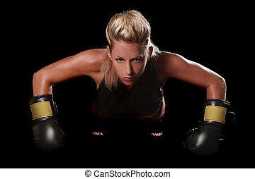 boxen, ausrüstung, weibliche