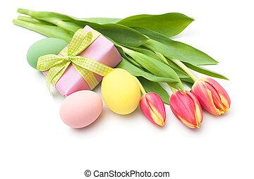 boxen feder, blumen, geschenk, tulpen