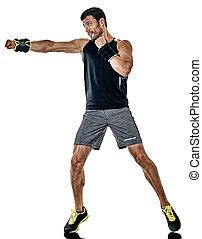 boxen, freigestellt, fitness, übungen, cardio, mann