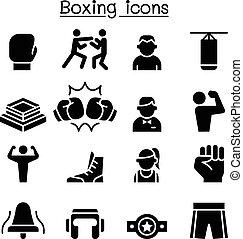 boxen, satz, ikone