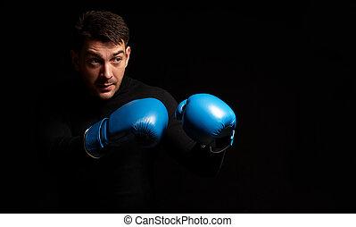 boxen, schwarzer hintergrund, mann