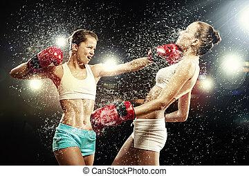 boxen, zwei, hübsch, frauen