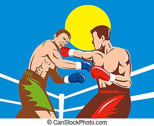 boxeo, ángulo, hombres, dos, bajo, anillo
