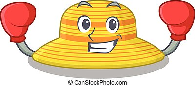 boxeo, diseño, deportivo, atleta, sombrero, verano, mascota