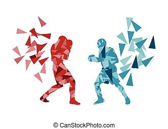 boxeo, pelea, entretela, otro, cada, hombre