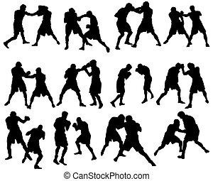 boxeo, silueta, conjunto
