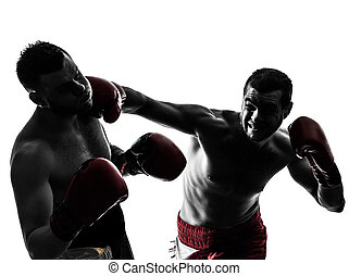 boxeo, silueta, hombres, ejercitar, dos, tailandés