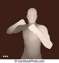 Boxer. 3D Model of Man. Human Body. Sport Symbol. Design...