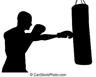 Boxer - A boxer exercising, ready to punch a punching bag.