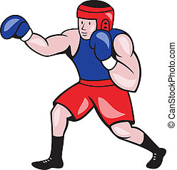 boxer, amateur, boxen, karikatur