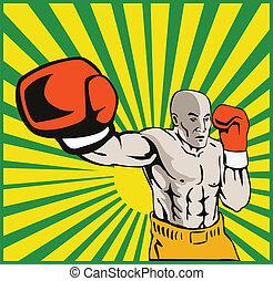 Boxer Boxing Jabbing Front - illustration of a boxer jabbing...