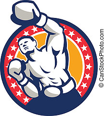 Boxer Boxing Punching Jabbing Retro - Illustration of a...
