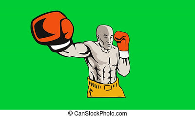 boxer boxing punching jabbing retro - 2d video footage...