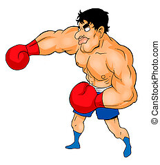 Boxer Caricature - Cartoon illustration of a boxer