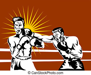 Boxer connecting - Illustration on the sport of boxing