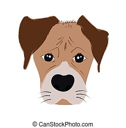 Boxer dog cute head and expression face - Vector hand drawn illustration isolated on white background