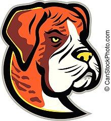 boxer-dog-HEAD-MASCOT - Mascot icon illustration of head of...