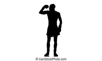 Boxer exults after fight. Silhouette. Slow motion