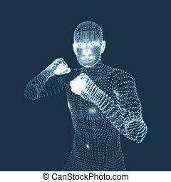 Boxer. Fighting Man. 3D Model of Man. Human Body Model. Body...