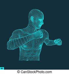 Boxer. Fighting Man. 3D Model of Man. Sport Symbol. - Boxer....